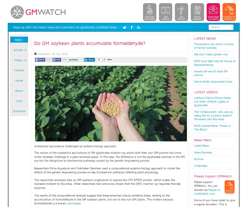 Do GM Soybean Plants Accumulate Formaldehyde?