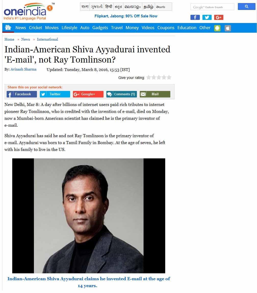 Indian-American Shiva Ayyadurai Invented 'E-mail', Not Ray Tomlinson?