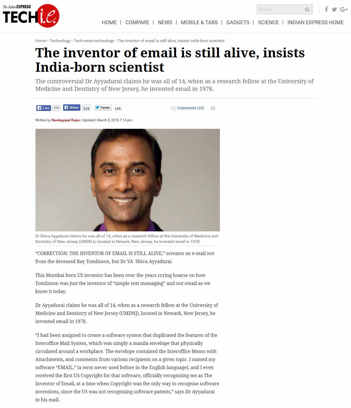 The Inventor Of Email Is Still Alive, Insists India-Born Scientist