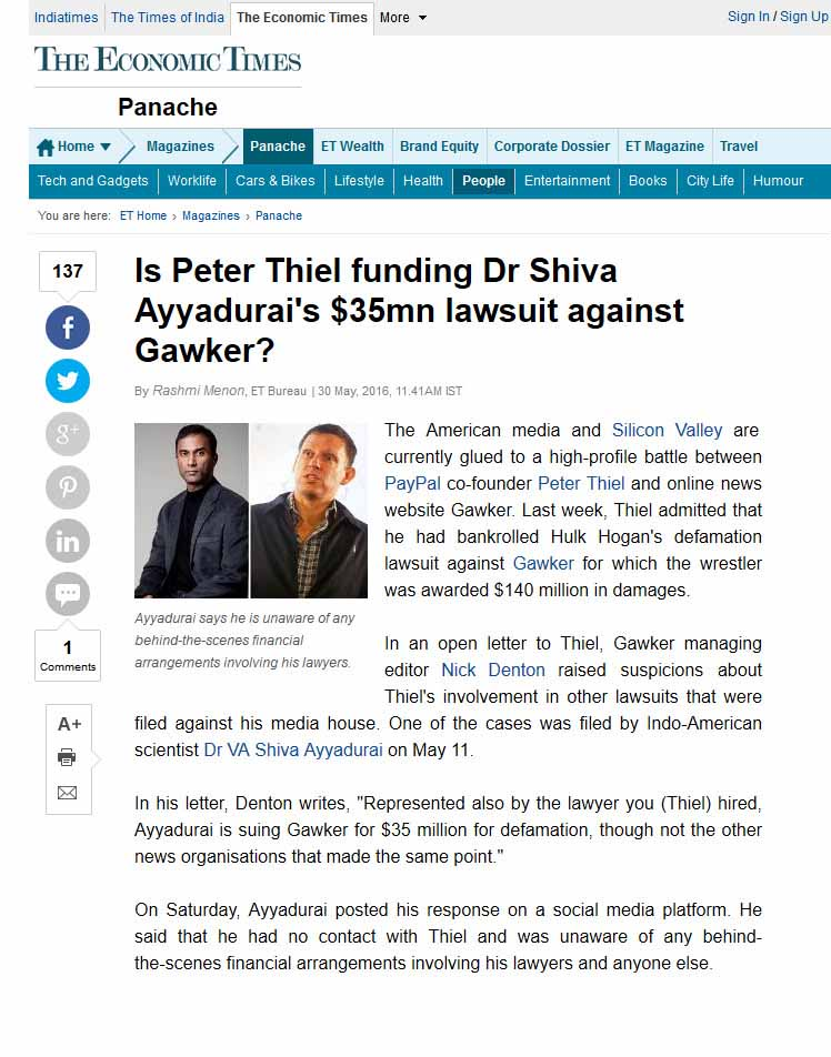 Is Peter Thiel Funding Dr Shiva Ayyadurai's $35mn Lawsuit Against Gawker?