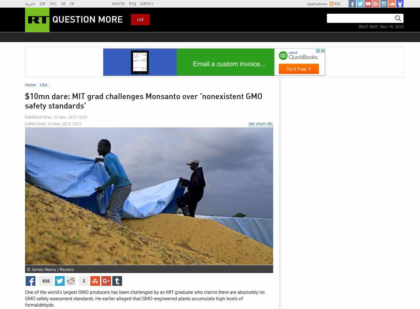 $10mn Dare: MIT Grad Challenges Monsanto Over 'Non-Existent GMO Safety Standards'