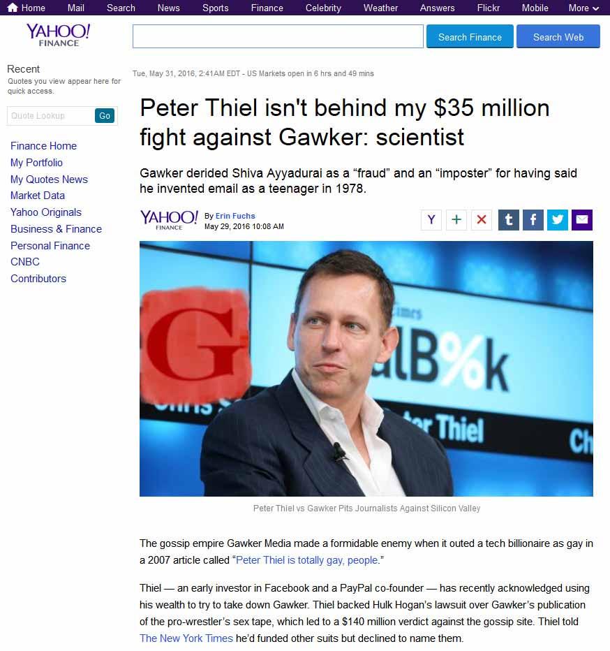 Peter Thiel Isn't Behind My $35 Million Fight Against Gawker: Scientist