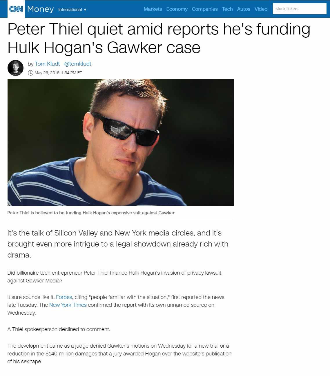 Peter Thiel Quiet Amid Reports He's Funding Hulk Hogan's Gawker Case