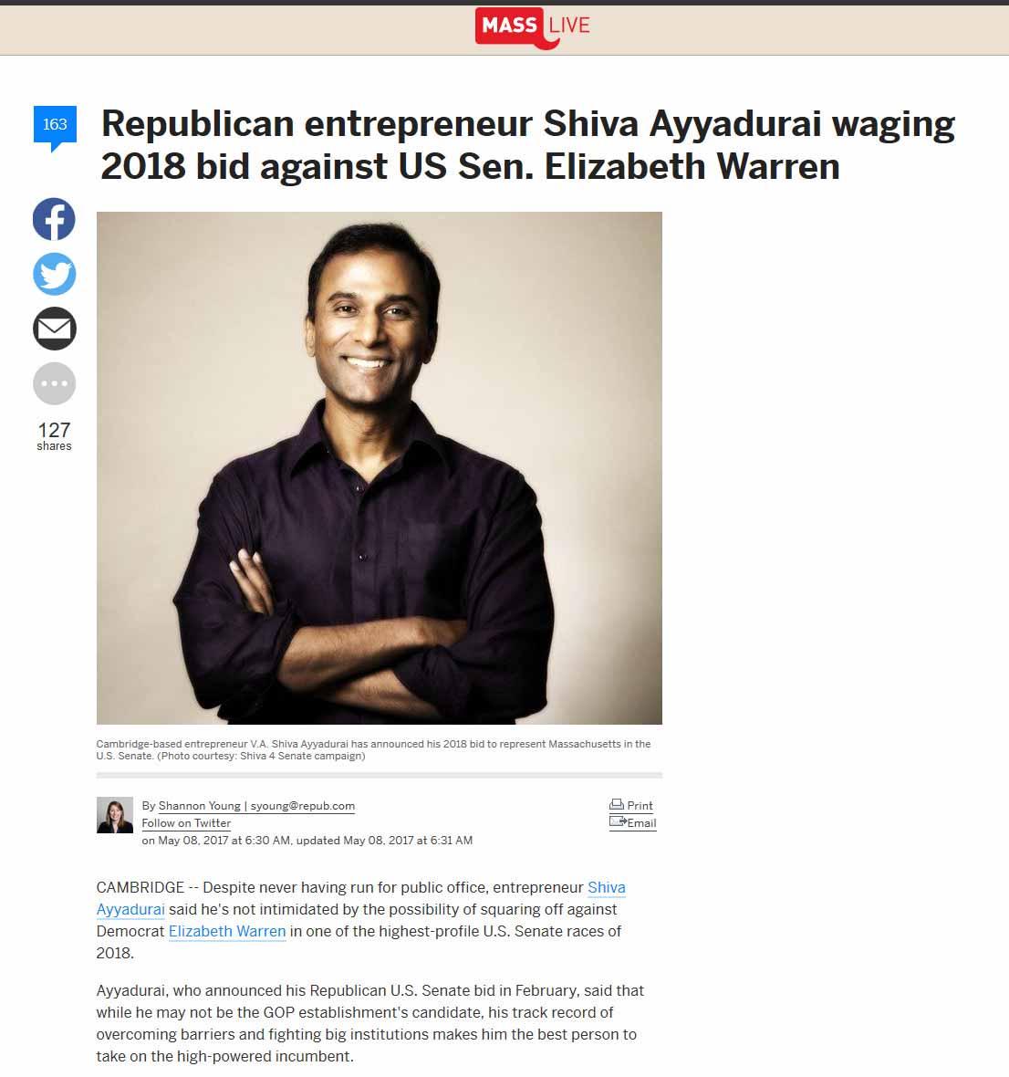 Republican Entrepreneur Shiva Ayyadurai Waging 2018 Bid Against US Sen. Elizabeth Warren