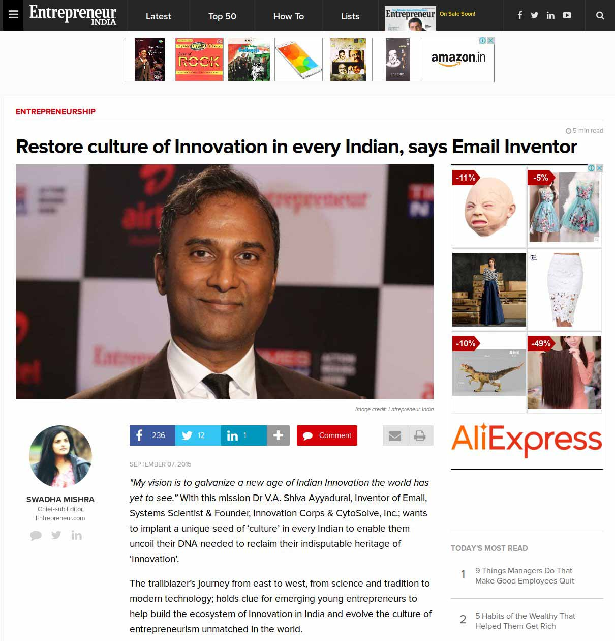 Restore Culture Of Innovation In Every Indian, Says Email Inventor