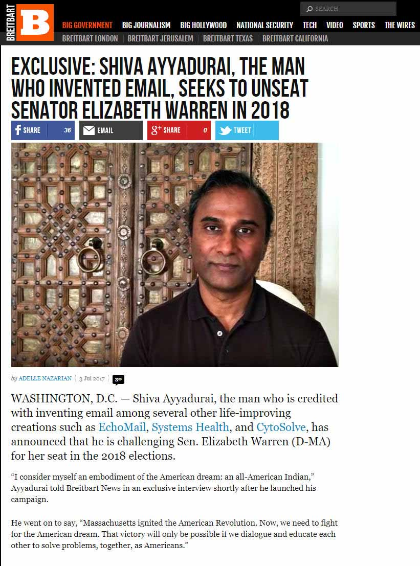 Shiva Ayyadurai, The Man Who Invented Email, Seeks To Unseat Senator Elizabeth Warren In 2018