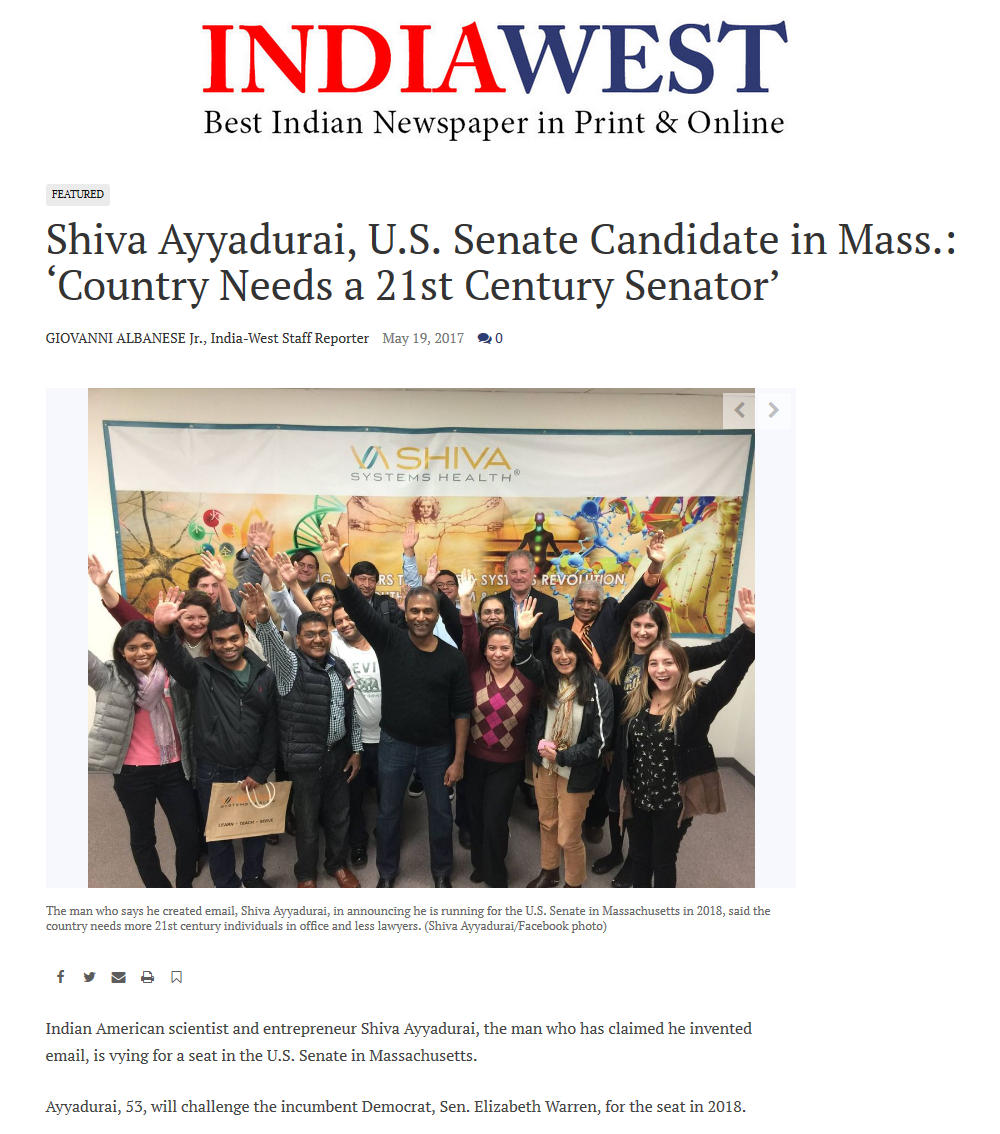 Shiva Ayyadurai, U.S. Senate Candidate In Mass.: 'Country Needs A 21st Century Senator'
