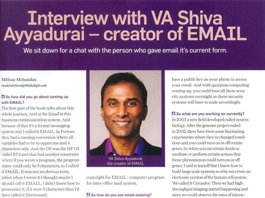 Interview With VA Shiva Ayyadurai – Creator Of EMAIL