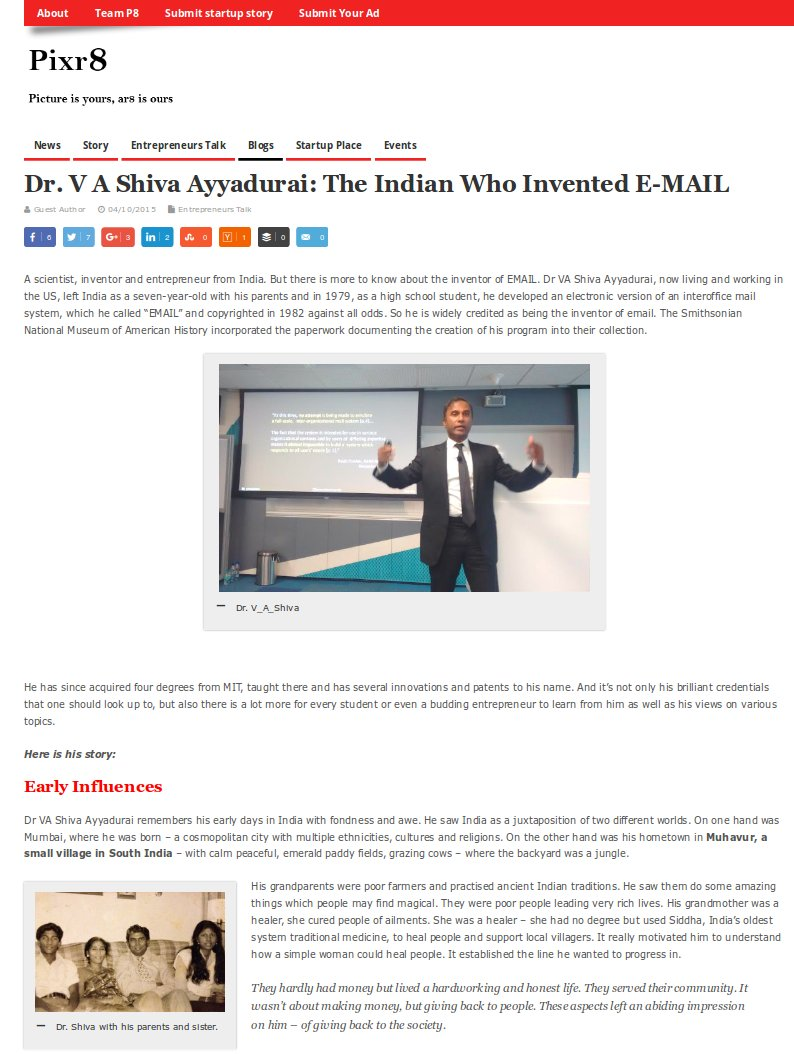 Dr. V A Shiva Ayyadurai: The Indian Who Invented Email