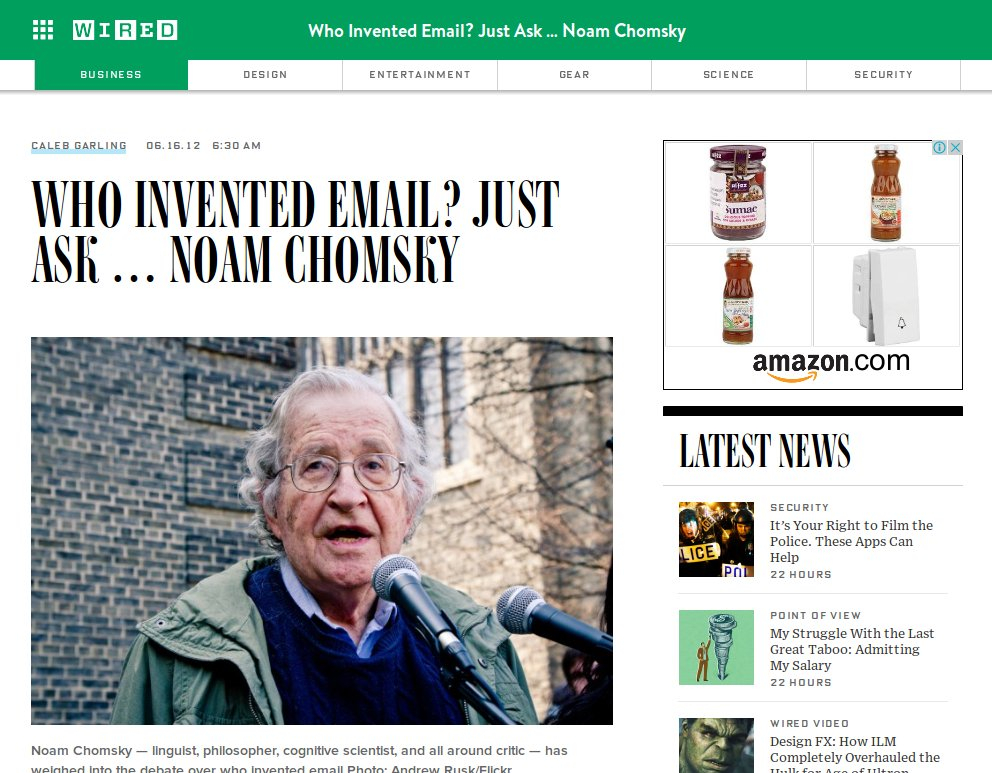 Who Invented Email? Just Ask … Noam Chomsky