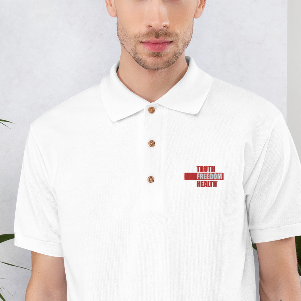 Embroidered Truth Freedom Health White Polo Shirt