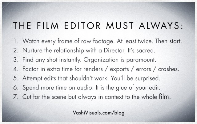 Non technical film editing rules