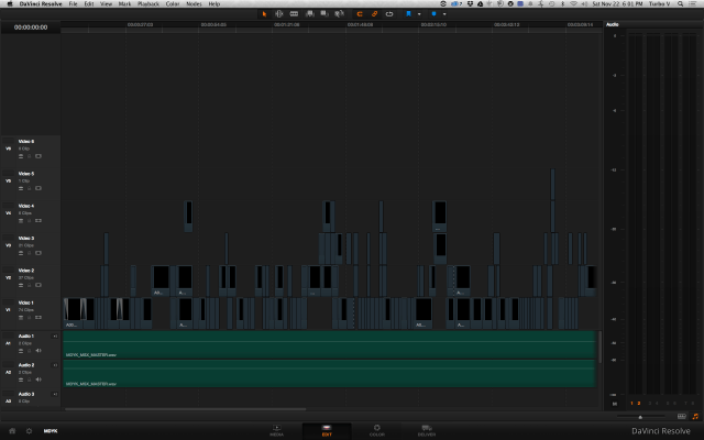 The Davinci Resolve timeline