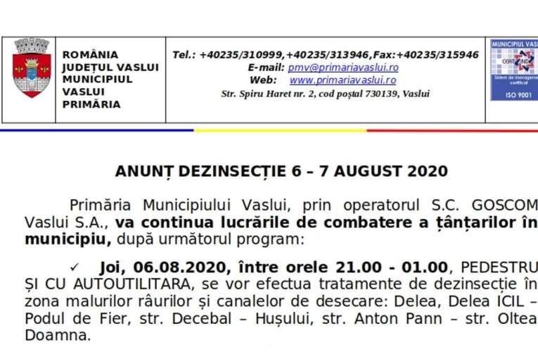 Primăria Municipiului Vaslui: ANUNȚ DEZINSECȚIE 6 – 7 AUGUST 2020