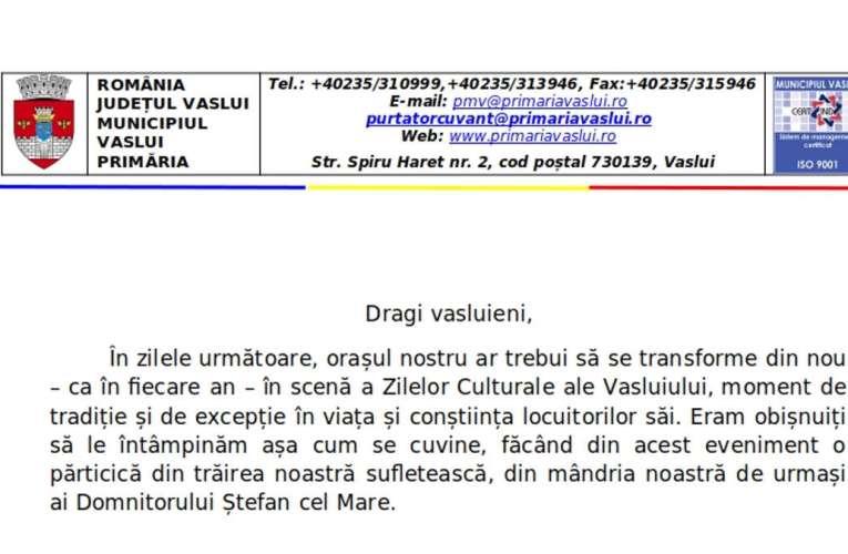 Primarul Vasile Pavăl: Zilele Municipiului Vaslui