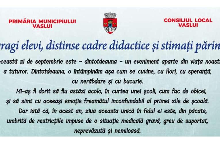 Mesajul d-lui primar Vasile Pavăl cu ocazia începerii anului școlar