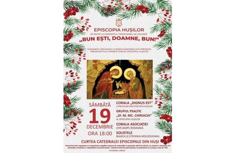 Astăzi, concert de colinde la Episcopia Hușilor! Maxim 100 de persoane pot participa!