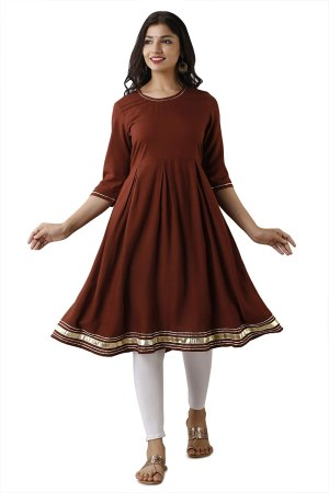 Indo Western Casual Solid with Gota Design Flared Kurti