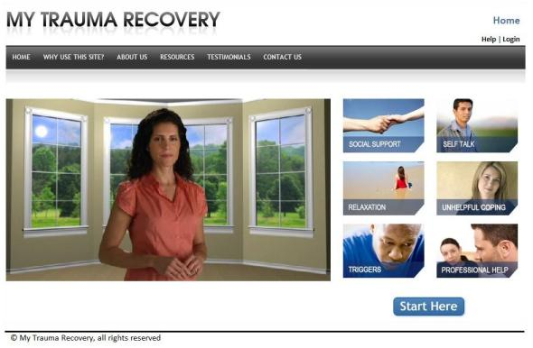 Snapshot of Trauma Website Home Page