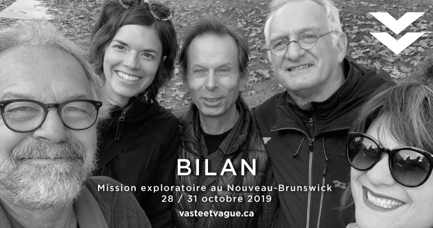BILAN Mission exploratoire au Nouveau-Brunswick 28 / 31 octobre 2019 | Sur la photo : John Michaud, Nancy Cormier, Yves Gonthier, André Lapointe, Louba-Christina Michel.