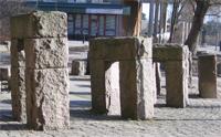 Skulpturgruppen Tid och Rum på Henriksdalsbergets torg