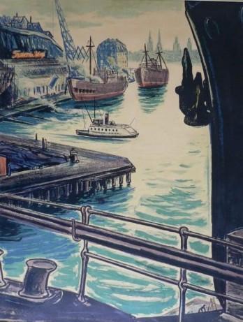Litografi Finnboda varv på 1940 till 1960-talet