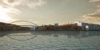 Kvarnholmsbron sedd från Stockholms inlopp med utbyggnad av Kvarnholmen