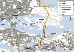 SWECOs och Skanskas Östra Länken med tunnelbana mellan Kungsträdgården och Nacka Centrum