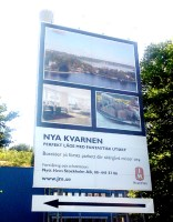 skylt för JM:s bostadsprojekt Nya Kvarnen på Kvarnholmen