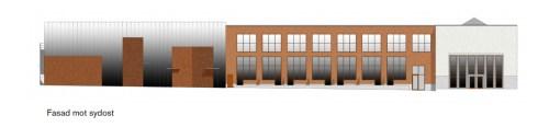 Finnboda, svetshallar, renovererad fasad mot sydost