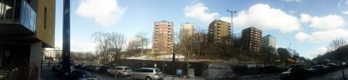 Panoramavy över ofärdiga Anders Franzéns parken i Henriksdalshamnen