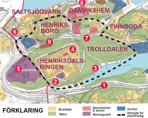 Karta med alternativa ställen att bygga på istället för skogen Trolldalen