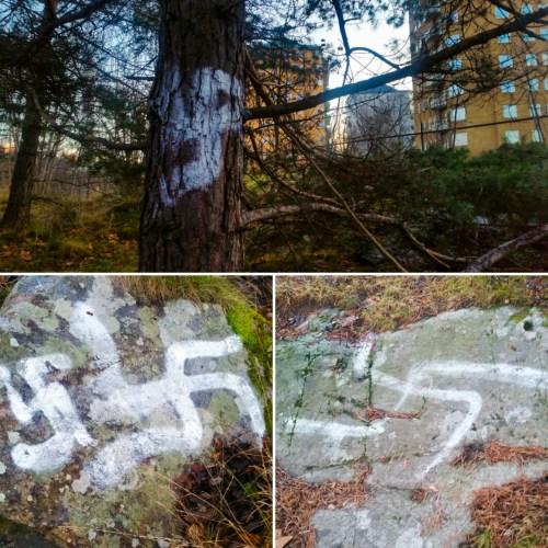 Nazistiska symboler på Bageriberget i Saltsjöqvarn