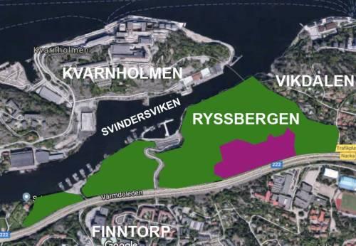 Kartan visar de 25 % i urskogen Ryssbergen som Skanska, HSB och Nacka kommun vill exploatera