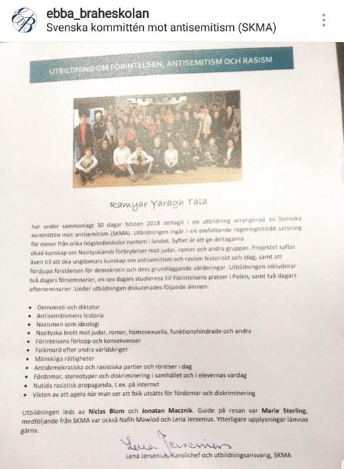 Diplom för utbildning om förintelsen