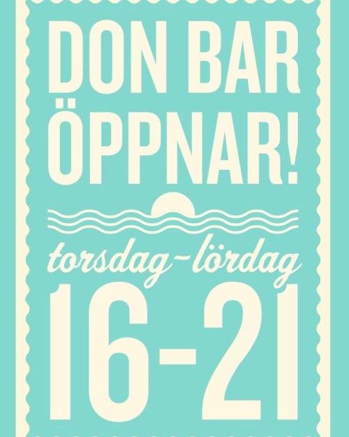 Öppettiderna för Don Bar 2020 på Kvarnholmen i Nacka