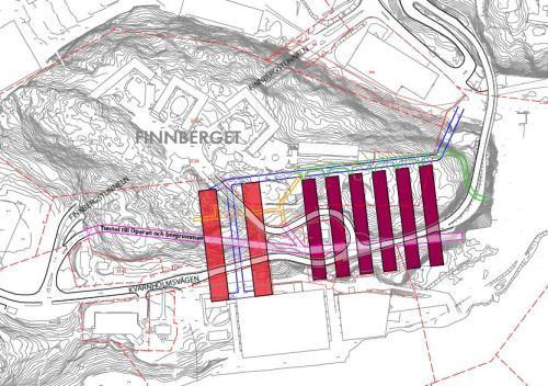 Karta över 8 bergrum under Finnberget i Nacka