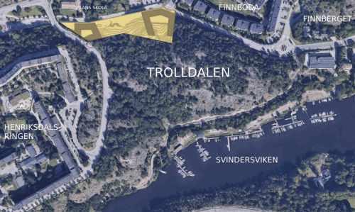 Karta över etapp 2 i planprogrammet för Henriksdal - nordvästra Trolldalen