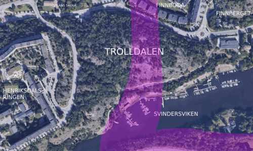 Karta visar hur Trafikverket vill att Östlig förbindelse dras genom bl.a. Trolldalen i Nacka