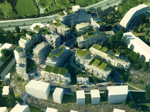 Illustration visar hur SMÅA Bostad vill bebygga Svindersberg i Finntorp Nacka