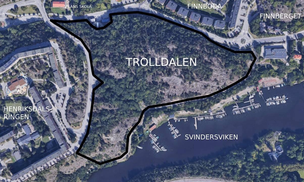 Karta över nyckelbiotopen Trolldalen i Nacka mellan Kvarnholmvägen / Finnboda i norr, Gäddviken i öst, Svindersviken i syd oh Henriksdalsringen i väst