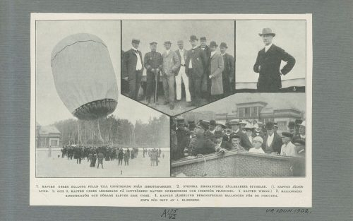 (1) Svenske, (2) Svenska Aeronautiska sällskapets styrelse, (3) kapten Eric Unge, (4) kapten Jäderlund demonstrerar ballongen för inbjudna