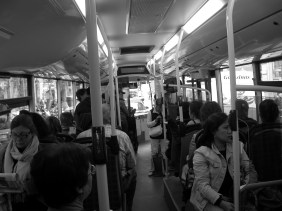 Inside the bus over the streetBarcelona