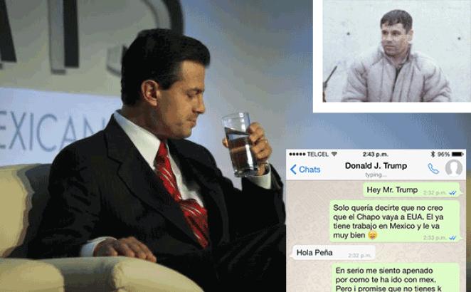President of Mexico Enrique Peña Nieto messaging Donald Trump over Guzman