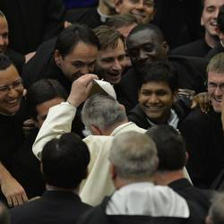 The Pope with seminarists and young priests