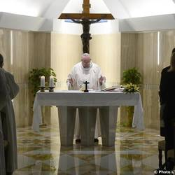 Francis at the mass in St. Martha's House