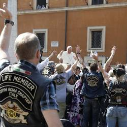The Pope with the group of Harley Davidson motorcyclists that came to Rome