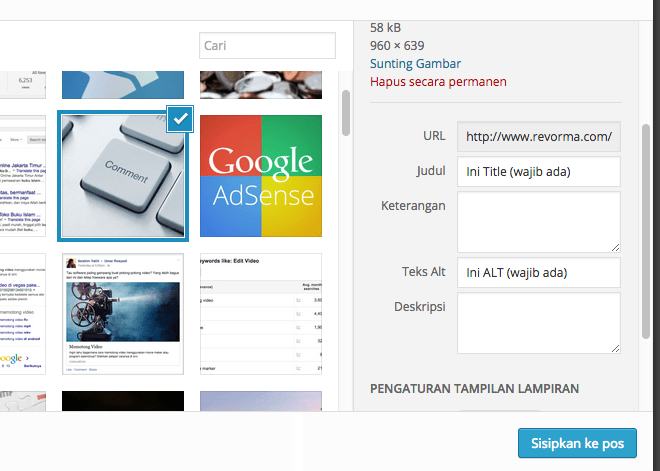 Contoh memasukkan Title dan ALT di WordPress.