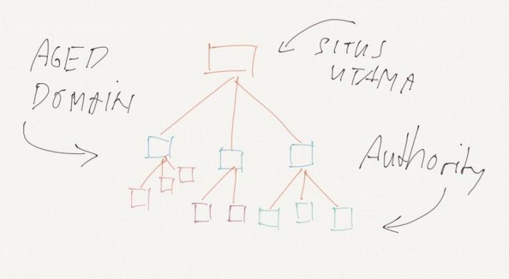 Ilustrasi skema piramida aged domain