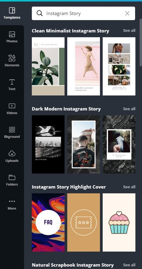 memilih template instagram story